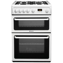 Hotpoint HAG60P 60cm Double Oven Gas Cooker White