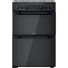 Hotpoint HDM67G0CCB/UK Freestanding Gas Cooker Double Oven With Catalytic Liners In Black