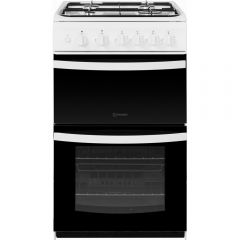 Indesit ID5G00KMW Gas Cooker Twin Cavity No Lid