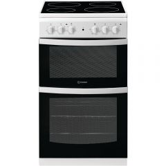 Indesit ID5V92KMW Twin Cavity 50Cm Ceramic Top Electric Cooker