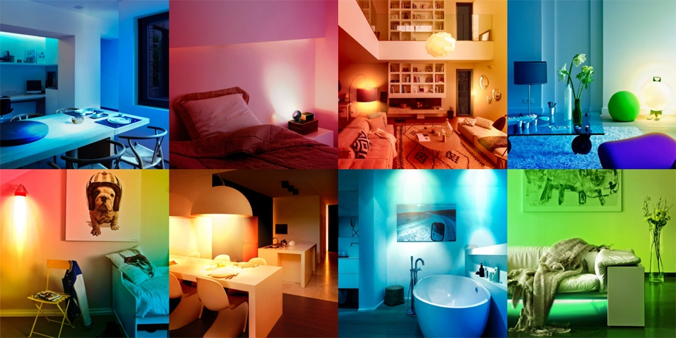 Different rooms can be lit in different colours with Wiz lighting.